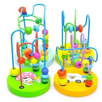 Children Baby Colorful Wooden Mini Around Beads Wire Maze Toys Educational Toy