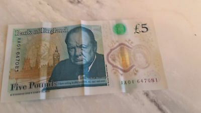 £5 Five Pound Note Polymer AA01