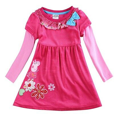 Peppa pig toddler girls flowers hot pink bow cute dress (18 Months-6 years)