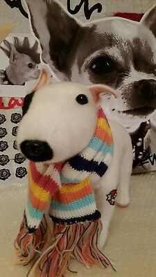 Bull Terrier 'Gnarls' in Scarf Cuddly Dog from Fuzzy Nation