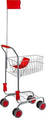 Childrens Toy Metal Shopping Trolley Kids Supermarket Pretend Play Trolley New