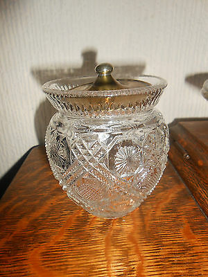 Vintage Pressed Glass Jar.early 20C. Crisp/delicate Pattern.4Ins.tall/3 Ins.wide