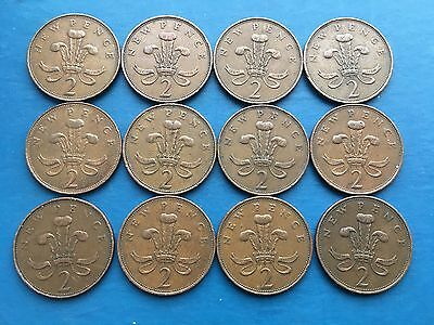 12 x 1971 'New Pence' Two Pence 2p Coins - Rare