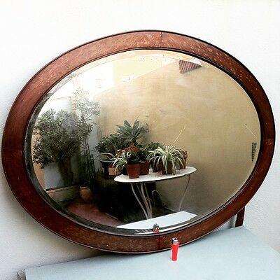 Antique 1900-30 Spanish Modernist Oval Mahogany Mirror Vintage miroir spiegel
