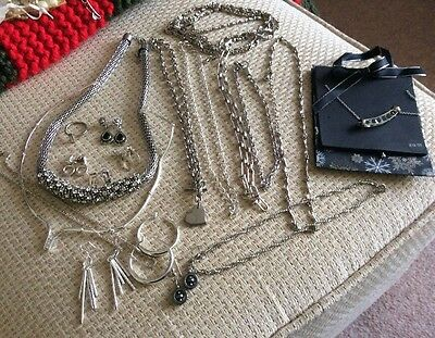 Large Selection Of Silver Tone Jewellery