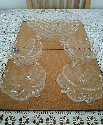 Vintage early 20th Century glass dessert set. One large 4 individual bowls.