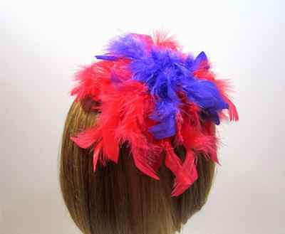 Red & Purple Chandele Feather Hair Clip-Pin-Hat Decor-Red Hat Ladies Of Society
