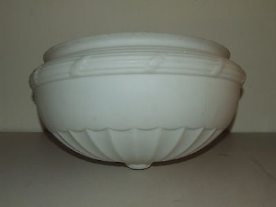 """Large Antique Art Deco Frosted White Glass Ceiling Lamp Shade Globe 14"""" Fittter"""