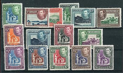 St Vincent KGVI 1938-47 full definitive set of 15 SG149/59 mounted mint