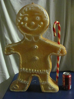 "23"" Union Gingerbread Man Peppermint Xmas Blowmold Light Up Plastic Outdoor Vtg"
