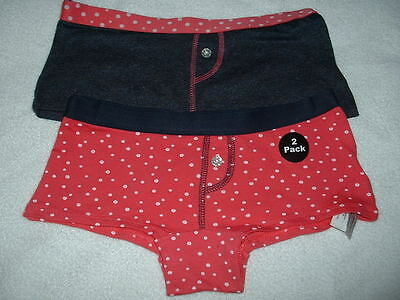 Two (2) Pairs Girls Lovely Coral & Navy  Knickers Age 9-10 Years Bnwt
