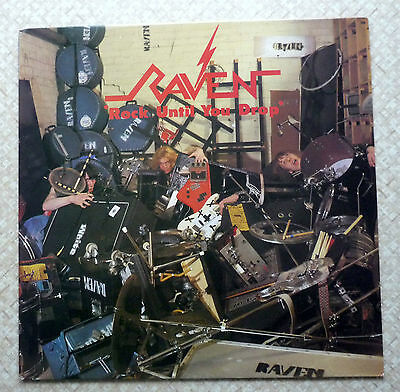 Raven - Signed - Rock Until You Drop - Neat Records 1981 - Photo & Lyric Sheet