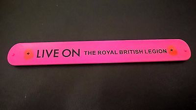 Royal British Legion Poppy Appeal snap ruler bracelet (Pink). New/collectable.