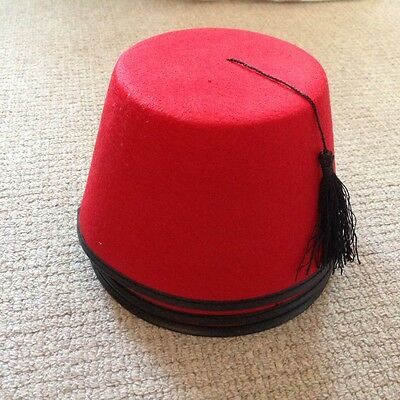 Red Fez hat with black tassel (Turkish/Moroccan/Tommy Cooper style)