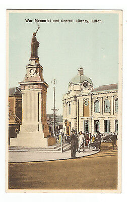 Bedfordshire Luton War Memorial And Central Library Vintage Postcard 11.01