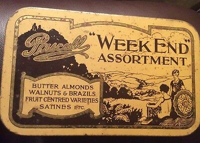 VINTAGE PASCALL WEEKEND ASSORTMENT SWEETS TIN (1930s) QUITE GOOD CONDITION.