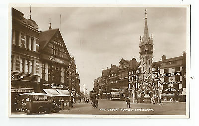 Leicestershire Leicester The Clock Tower Real Photo Vintage Postcard 10.01