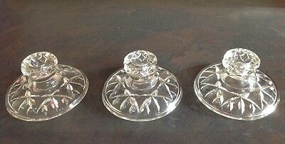 Crystal Cut Clear Glass Short Candle Holders X Three Matching Vintage Ornate