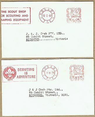 Australia Tasmania 1967-71 Hobart Scout Official meter cancel covers (2)