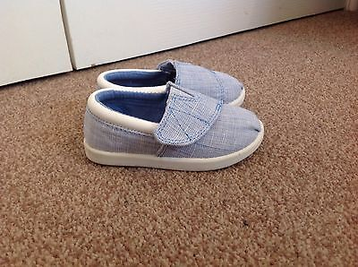 Next Baby Toddler Boat Shoes Slip On Velcro Blue And White New size 4 Infant