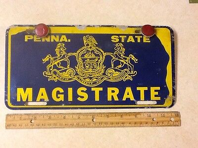 PA .PENNA.State MAGISTRATE LICENSE PLATE RARE 2 Red Reflectors