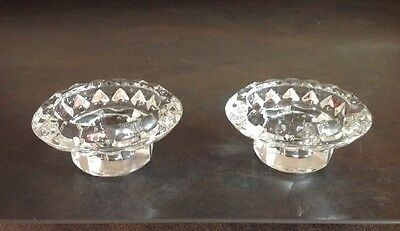 Crystal Cut Clear Glass Short Candle Holders X Two Matching Vintage Ornate