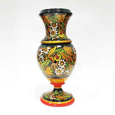 Beautiful big vase. Russian Khokhloma. Very difficult painting. #37-1