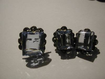 Vintage Taxco Mexico Chunky Sterling Blue Stone Ring & Earrings