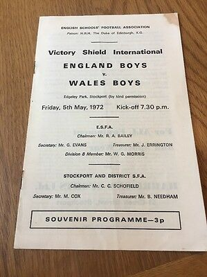 England Boys v Wales Boys 1972 Victory Shield International Match Programme