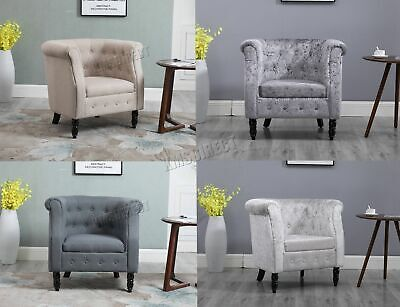 WestWood Vintage Linen Fabric Tub Chair Armchair Dining Living Room Lounge TC07