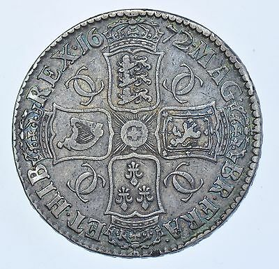 1672 CROWN, BRITISH SILVER COIN FROM CHARLES II aVF