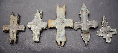Group Of 5 Decorated Viking Bronze Reliquary Crosses 10Th - 11Th Century Ad