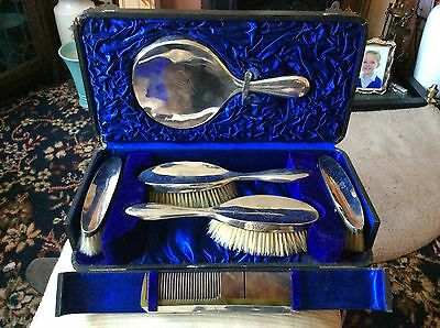 Antique Silver Dressing Table Set In Original Box Hallmarked 1907/8 Vgc