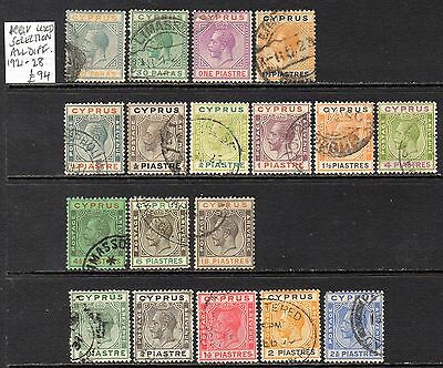 Cyprus KGV 1921-28 Used Selection (All Different)