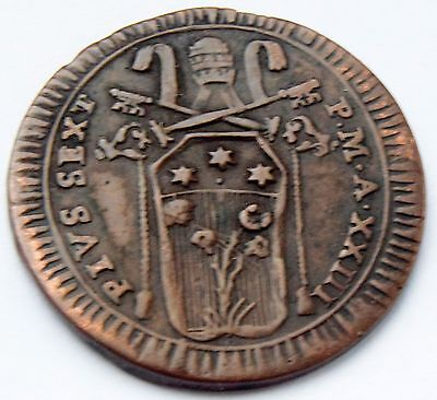 1797 Italy Vatican Papal States PIVS SEXTVS PON M A XXIII BAIOCCO  coin