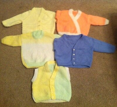 5 X Hand Knitted Woolley Baby Unisex Cardigans 3-6 Months Bundle