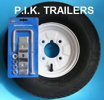 "400 x 8 Trailer Tyre & Rim 4 Ply on 4"" PCD Wheel with Spare Wheel Holder"