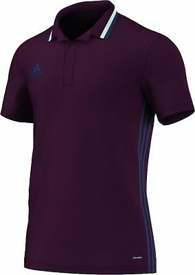 Adidas Football Men Soccer Condivo 16 Climalite Polo Shirt Maroon Blue