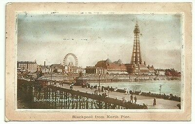 Vintage Postcard dated 1912 Blackpool from North Pier
