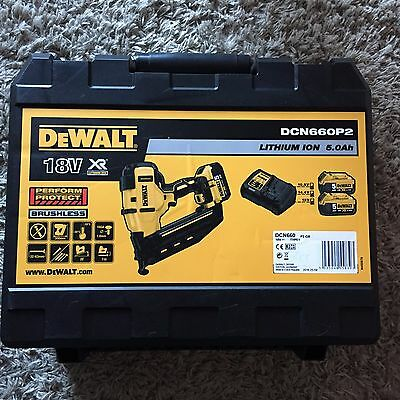 DEWALT NAIL GUN DCN660P2 Tough Case XR 2ND Fix Nailer 18 Volt Hard Case Box