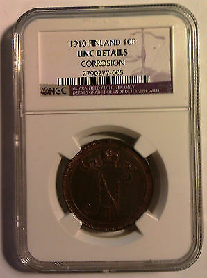 FINLAND (UNDER RUSSIA) 10 penni 1910. NGC graded UNC with corrosion