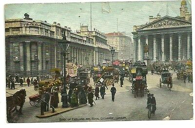 Vintage Postcard dated 1910 Bank of England and Royal Exchange, London