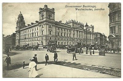 Vintage Postcard dated 1909 Government Buildings, Westminster, London