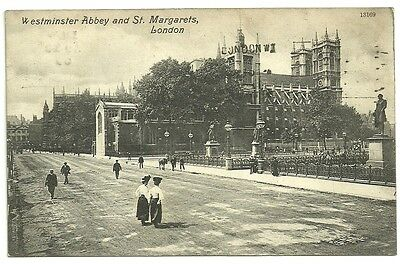 Vintage Postcard dated 1909 Westminster Abbey and St. Margarets, London