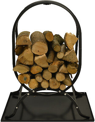 Hausen Decorative Oval Fire Wood Rack Log Stand Store