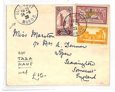 AK160 1928 French Colonies Morocco *TAZA HAUT* scarce origin CDS Somerset Cover