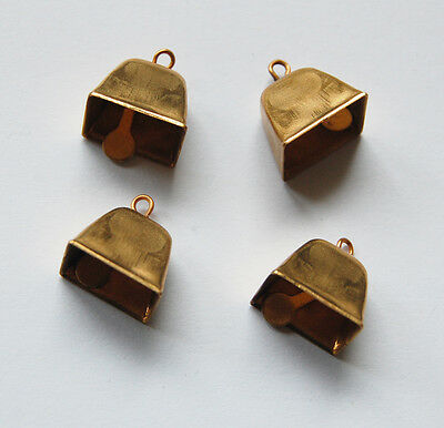 VINTAGE 4 SMALL SQUARE BRASS METAL BELL BELLS WORKS 1/2 inch tall