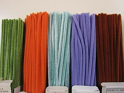 """5 Vintage  Assorted  Boxes At 100 Each  12"""" Chenille  Craft Pipe Cleaners"""
