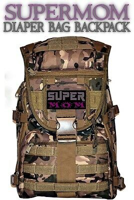 Super Mom DIAPER BAG - Baby Blue / Messenger Camo Diaper Bag + 4 FREE Zip Pulls