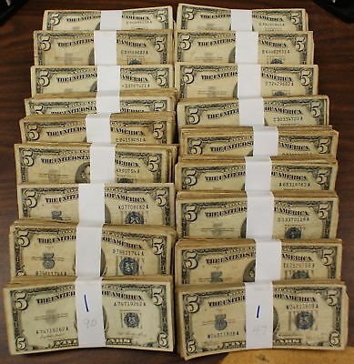 Lot of 100 $5 Dollar Silver Certificates 1953